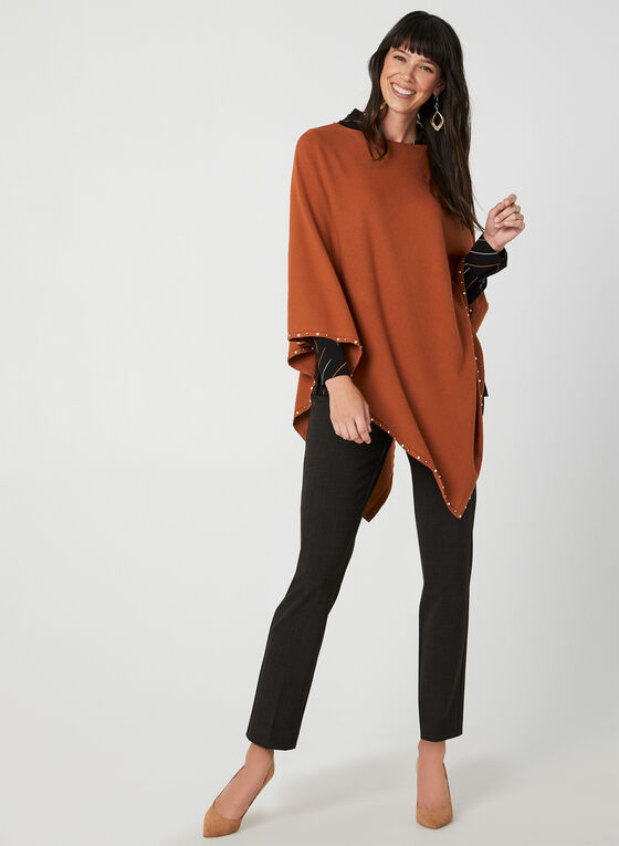 Pearl Detail Poncho, Brown