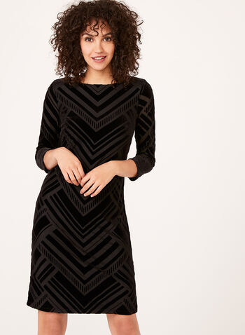 Geometric Velvet Shift Dress , , hi-res