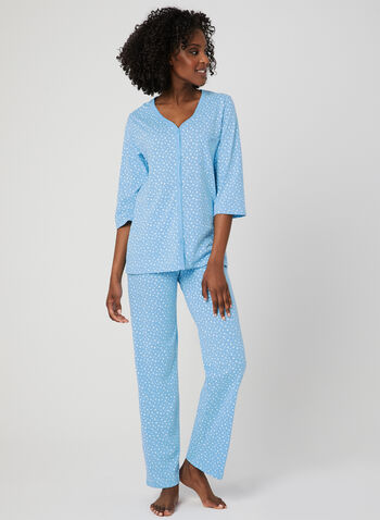 Bellina -Star Print Pyjama Set, Blue, hi-res