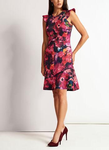 Floral Print Fit & Flare Dress, , hi-res