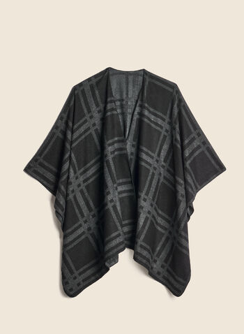 Plaid Jacquard Reversible Wrap, Black,  wrap, jacquard, tartan, fall winter 2020