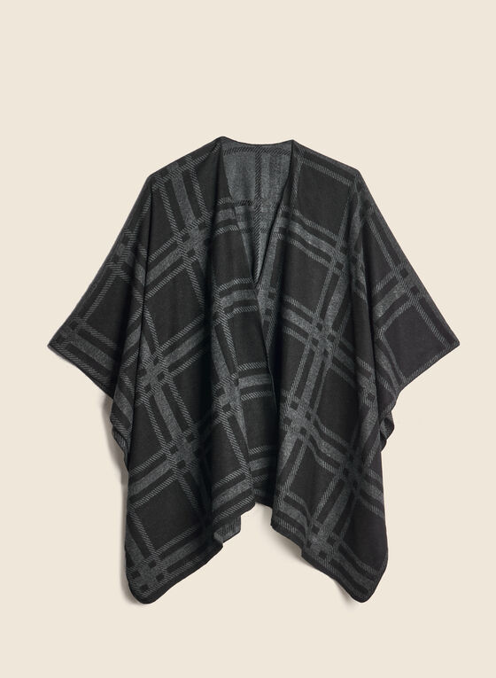 Plaid Jacquard Reversible Wrap, Black