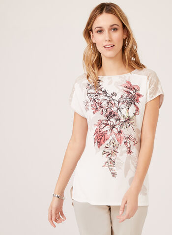 Floral Print Lace Detail Top, Grey, hi-res
