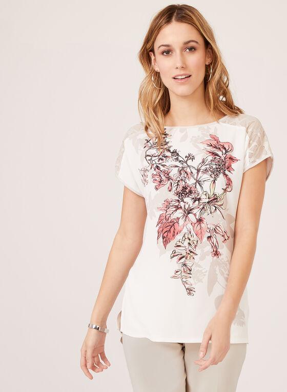Haut à motif floral avec dentelle , Gris, hi-res