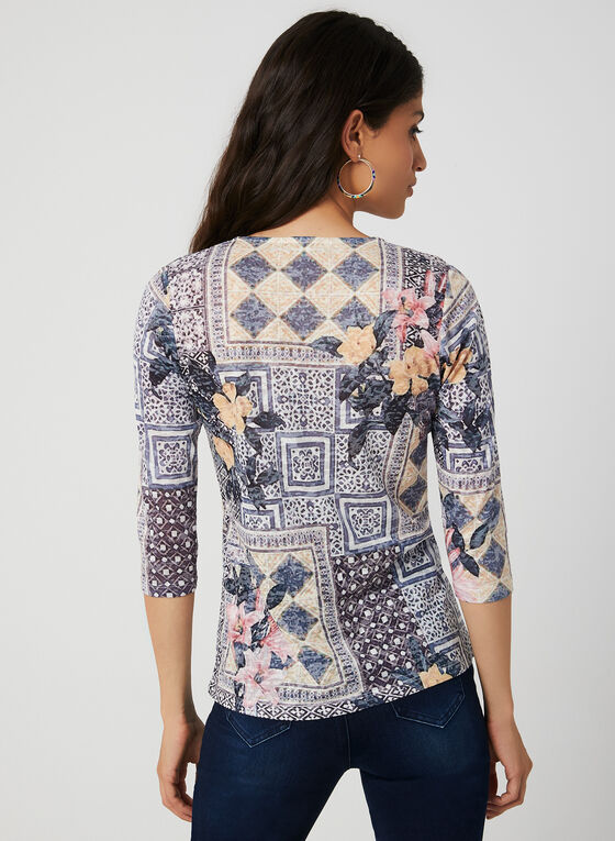 Patchwork Print ¾ Sleeve T-Shirt, Blue