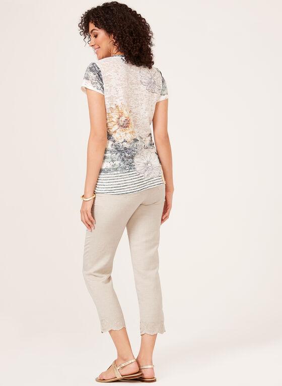 Vex - T-shirt fleuri à manches courtes et col V, Blanc, hi-res