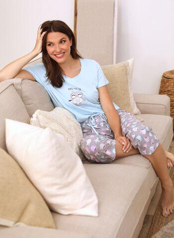 Embroidered Slogan Pyjama Set, Blue,  spring summer 2021, sleepwear, pj, pyjama, set, embroidery, embroidered, message, slogan, fun, tee, capris, t-shirt, coffee print, coffee, pull-on, V neck, short sleeve, owl