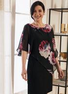 Floral Print Asymmetric Poncho Dress, Black