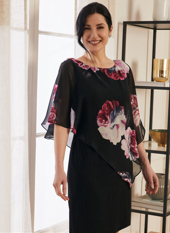 Floral Print Asymmetric Poncho Dress, Black,  dress, cocktail, floral, flowers, poncho, jersey, chiffon, cold shoulder, spring summer 2021