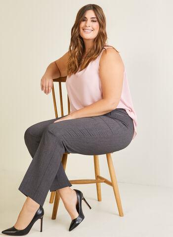 Sleeveless V-Neck Blouse, Pink,  blouse, sleeveless, v-neck, tiered, fall winter 2020