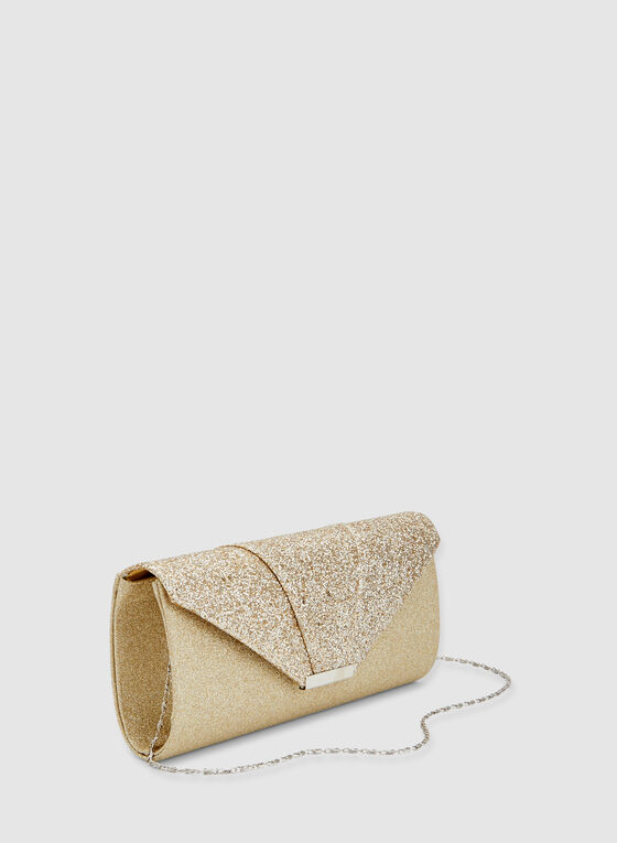 Glitter Envelope Clutch, Gold, hi-res
