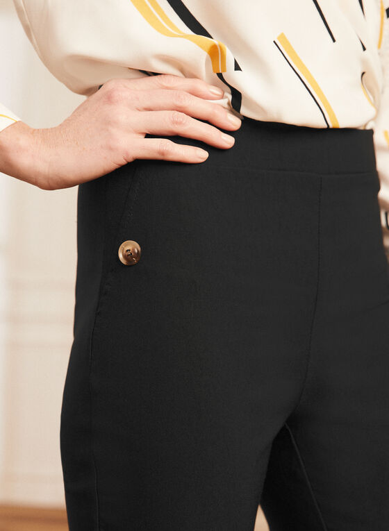 Pull-On Button Detail Capris, Black