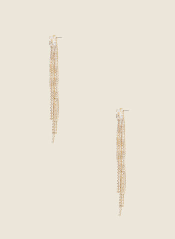 Cascade Crystal Earrings, Gold,  jewellery, accessories, earrings, metallic, crystal, cascade, fall winter 2020