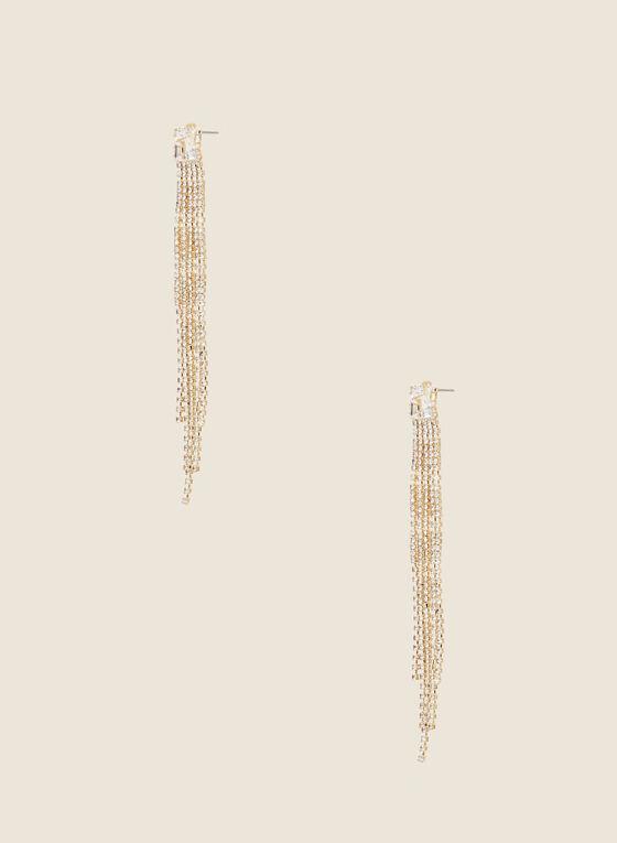 Cascade Crystal Earrings, Gold