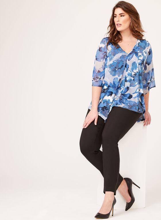 Asymmetric Floral Print Blouse , Blue, hi-res