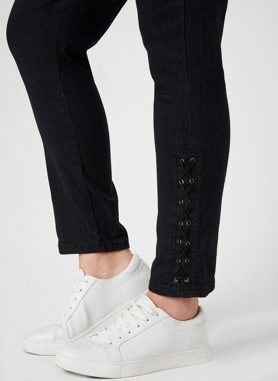 GG Jeans - Lace Up Slim Leg Jeans, Black, hi-res