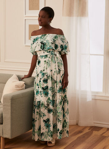 Palm Print Day Dress, White,  dress, day, palm leaf, print, off the shoulder, capelet, maxi, elbow sleeve, balloon sleeve, spring summer 2021