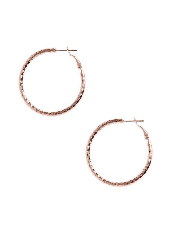 Boucles d'oreilles créoles texturée , Rose, hi-res
