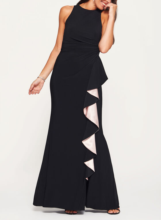 Contrast Cascade Ruffle Gown, Black, hi-res
