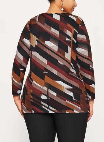 Graphic Print Keyhole Top, Brown, hi-res