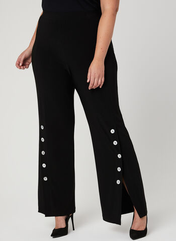 Frank Lyman - Button Trim Wide Leg Pants, Black, hi-res