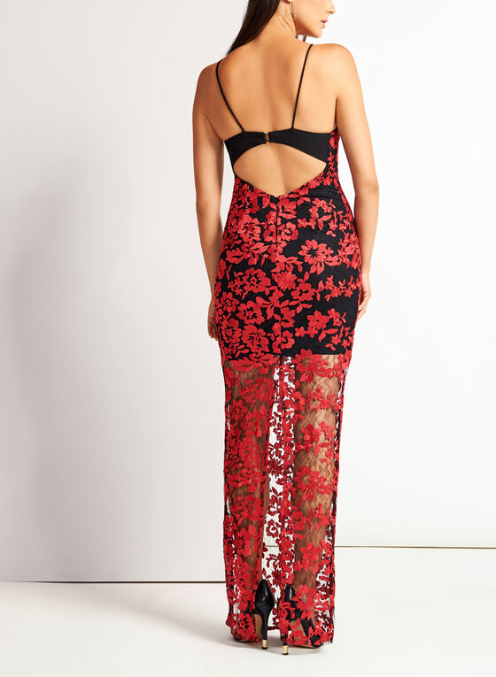 Open Back Floral Lace Dress, Red, hi-res