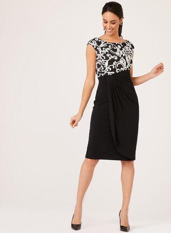 Sleeveless Soutache Draped Dress, Black, hi-res