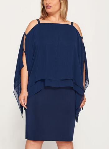 Cold Shoulder Poncho Dress, Blue, hi-res