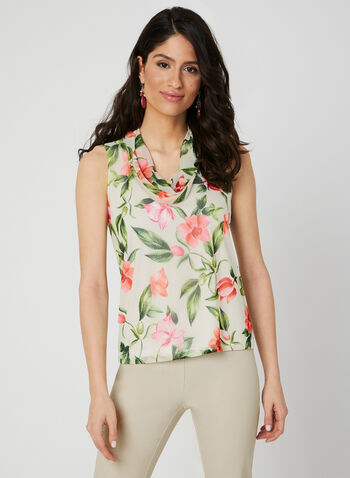 Cowl Neck Sleeveless Top, Green, hi-res
