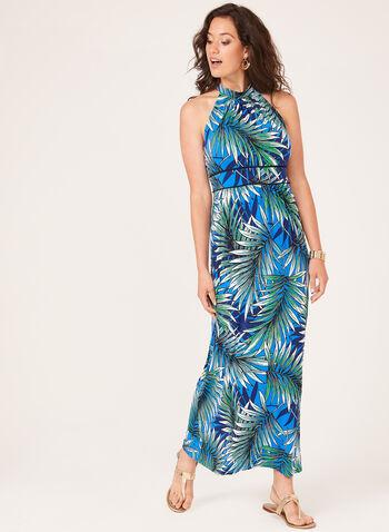 Leaf Print Halter Neck Maxi Dress, Blue, hi-res