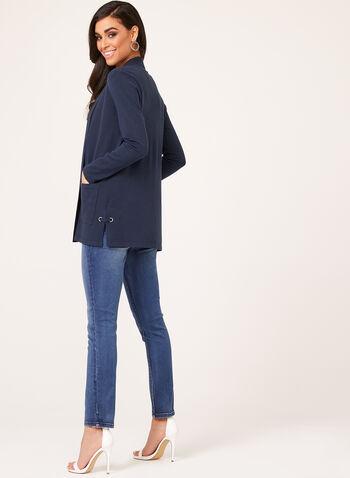 Cardigan ouvert en tricot avec œillets, Bleu, hi-res