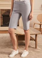 Pleated Pull-On Bermuda Shorts, Blue