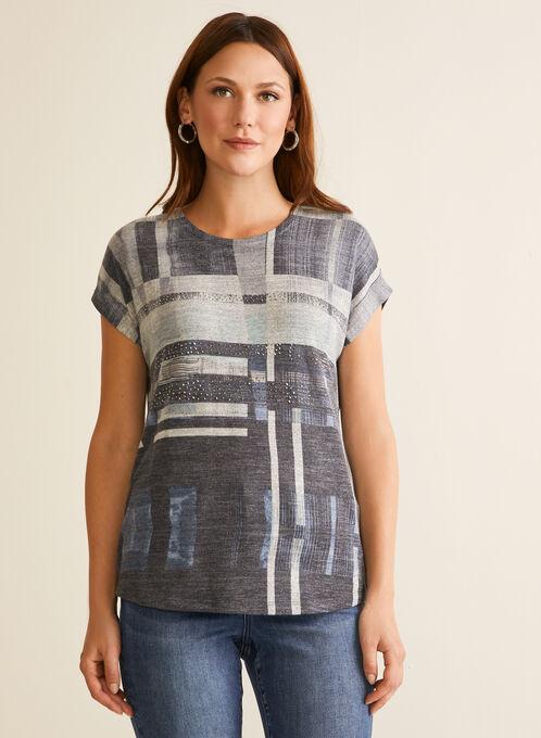 Rhinestone Detail Abstract T-Shirt, Blue