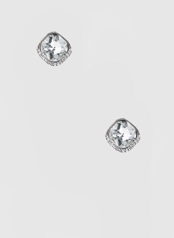 Square Rhinestone Earrings, Silver,  earrings, rhinestone earrings, crystals, rhinestones, fall 2019, winter 2019