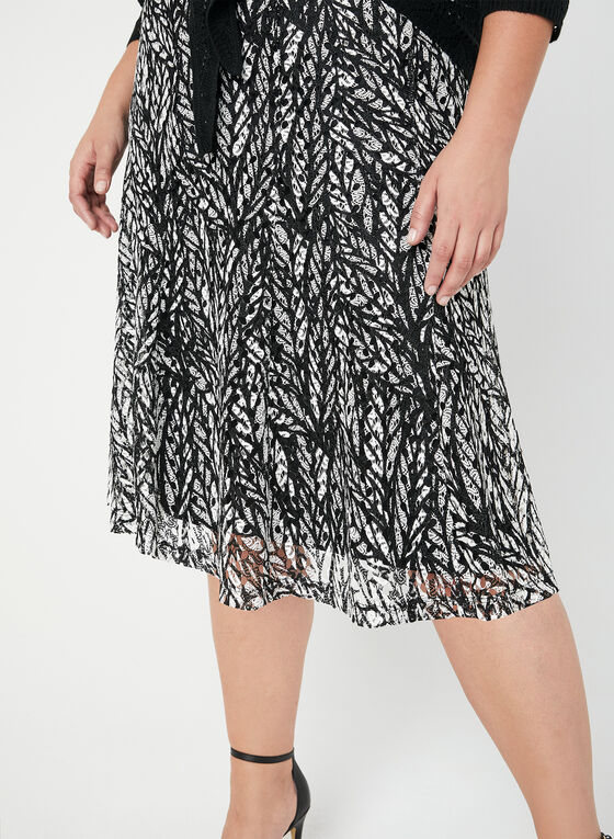 Printed Crochet Lace Skirt, Black