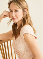 Lace Bodice Faux Wrap Dress, Pink