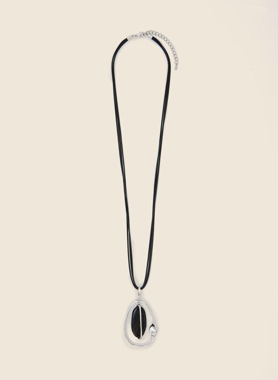 Collier long avec pendentif goutte, Noir