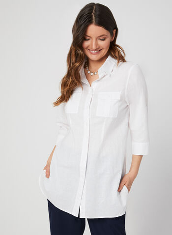 Lily Moss - ¾ Sleeve Button Down Blouse, White, hi-res