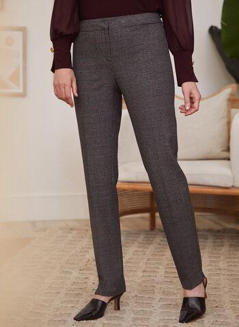 Tartan Print Modern Fit Pants, Grey,  pants, modern, straight, tartan, pleats, fall winter 2020
