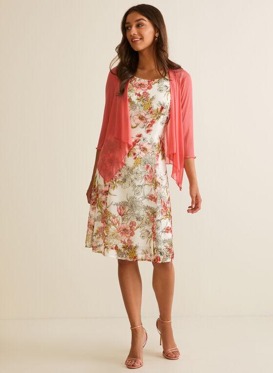 Floral Print Dress & Cardigan, Orange