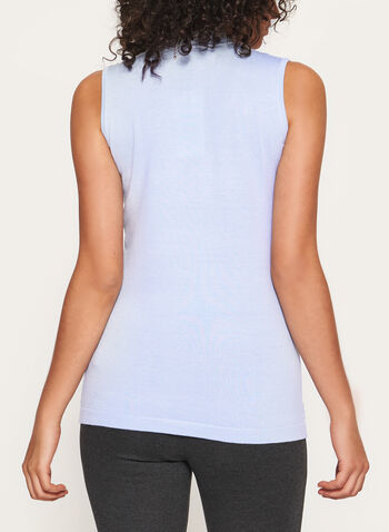 Sleeveless Mock Neck Pointelle Tank, Blue, hi-res