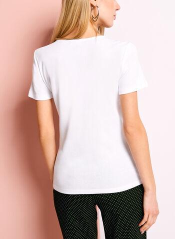 Studded Split V-Neck T-Shirt, White, hi-res