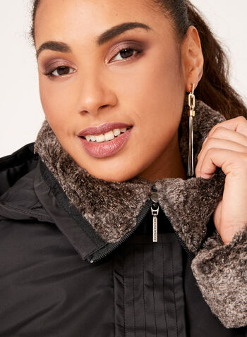 Weatherproof - Hooded Faux-Fur Trim Coat, Black, hi-res
