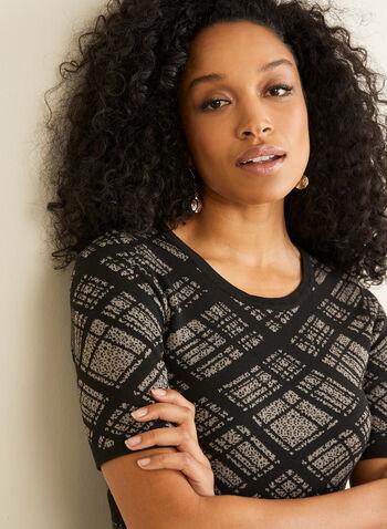Nina Leonard - Diamond Plaid Dress, Black,  Nina Leonard, dress, day dress, sweater knit, short sleeves, plaid flounce, fall 2019, winter 2019