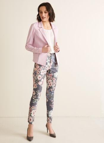 Floral Slim Leg Jeans, Blue,  jeans, slim leg, floral, denim, stretchy, slim leg, high rise, pockets, spring summer 2020
