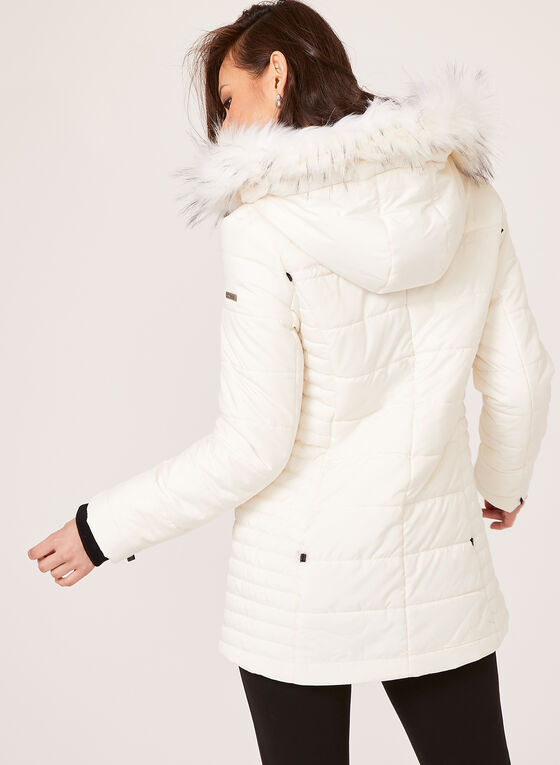 Novelti - Faux Down Quilted Coat, Off White, hi-res