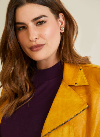 Faux Leather Jacket, Yellow,  jacket, faux leather, long sleeves, suede, zipper, notched collar, fall winter 2020