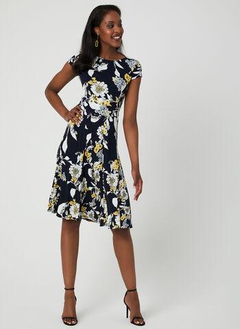 Robe ajustée et évasée à imprimé floral, Bleu, hi-res,  motif floral, texturé, printemps 2019, drapé, manches courtes, manches cape