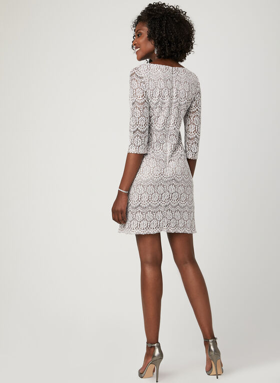 Lace Medallion Shift Dress, Brown, hi-res