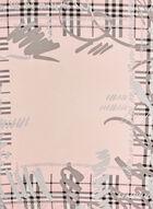 Foulard carré motif tartan, Rose, hi-res